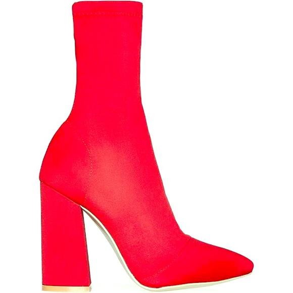 156dd2d1586 Red Chunky Heel Booties.